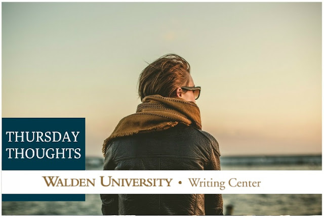 "A woman looks out over a body of water to the horizon. Text reads: ""Thursday Thoughts, Walden University Writing Center"""""