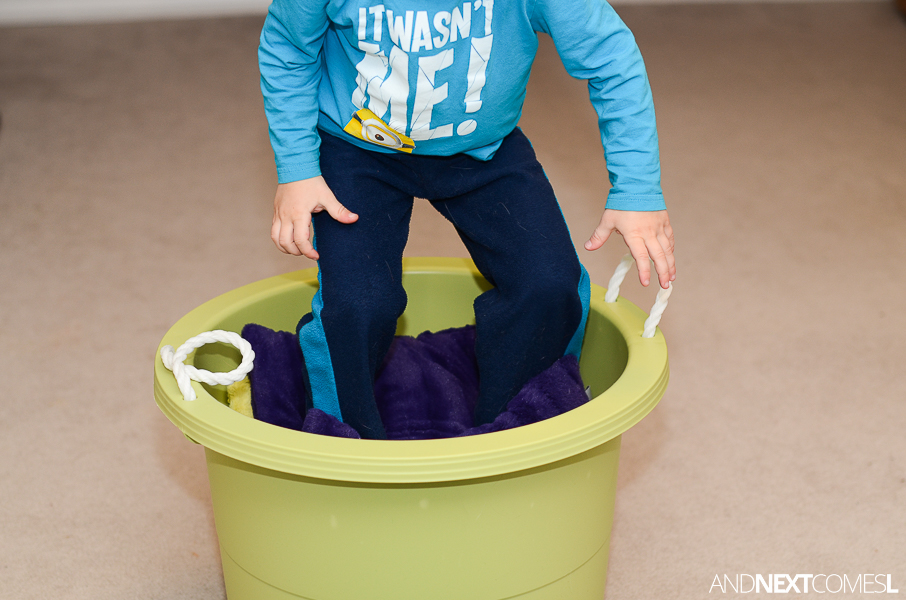 8 gross motor activities for kids using pillows a bucket for Indoor large motor activities for toddlers