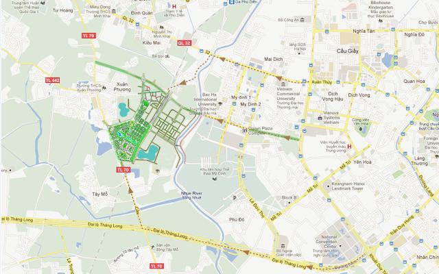 Vị trí Khu đô thị sinh thái Xuân Phương Tasco - Foresa Villa