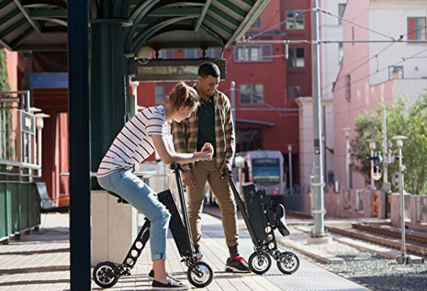 URB-E Folding Scooter, incredibly lightweight (35 lbs) and durable, with a patented folding design