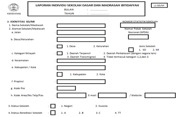 Contoh Laporan Individu Sekolah SD MI