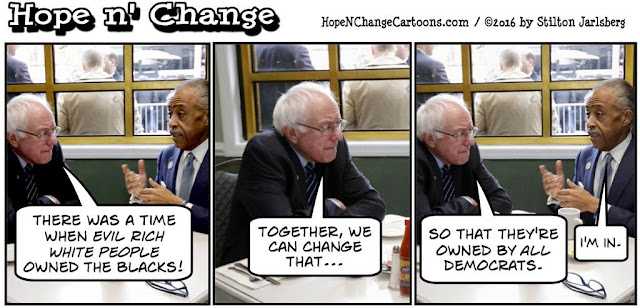 obama, obama jokes, political, humor, cartoon, conservative, hope n' change, hope and change, stilton jarlsberg, sanders, sharpton, freddy's fashion mart, free college
