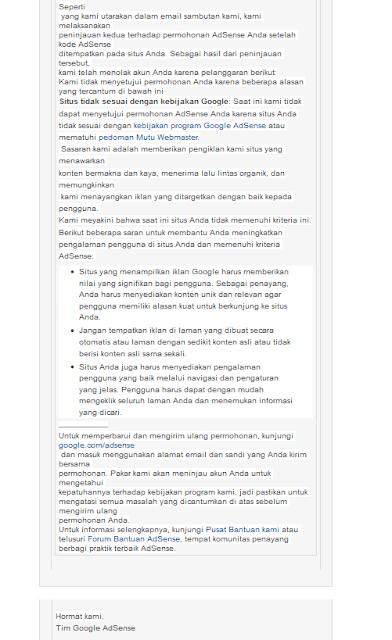 jenis penolakan google adsense dan cara memperbaikinya - adsense