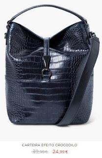 Mala de ombro preta padrão crocodilo em saldos na Mango (24,95 em vez de 39,99€)