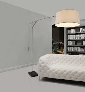 modern huge floor lamp mixed with luxury tufted white sofa plus wooden bookcase ideas