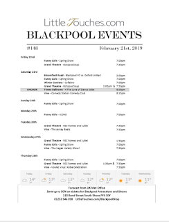 B2B Blackpool Hotelier Free Resource - Blackpool Shows and Events February 22 to February 28 - PDF What's On Guide Listings Print-off #148 Thursday February 21
