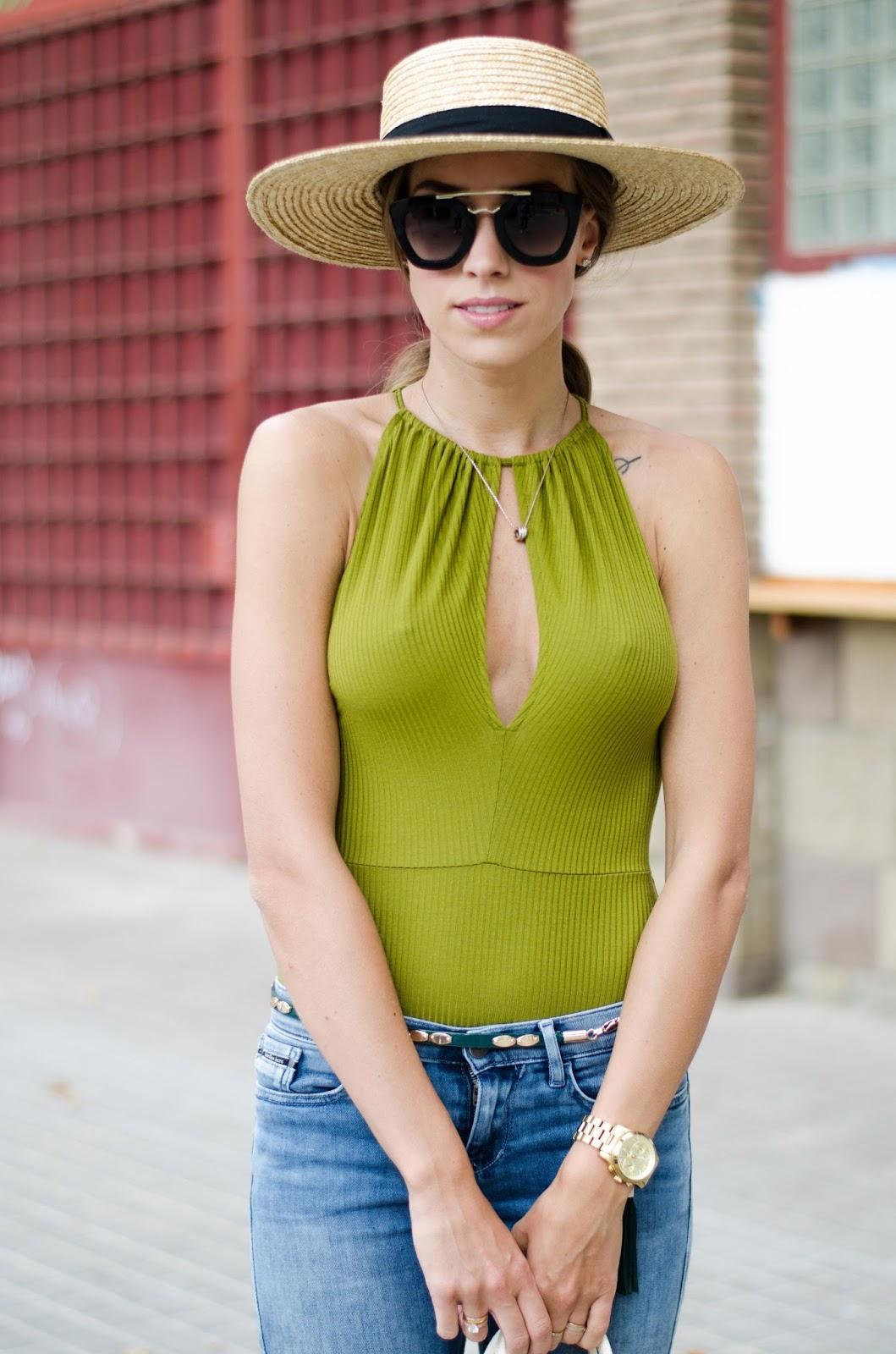 kristjaana mere green bodysuit summer outfit