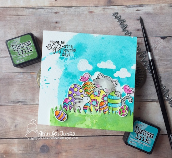 Easter Cat Card by Jennifer Timko | Newton's Easter Basket & Cloudy Sky Stencil by Newton's Nook Designs #newtonsnook #handmade