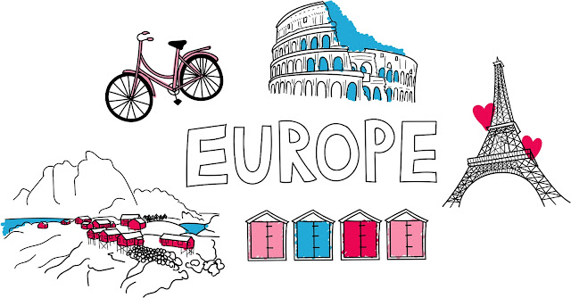 Europe illustration with collosieum, bike, lofted islands, beach huts and Eiffel Tower