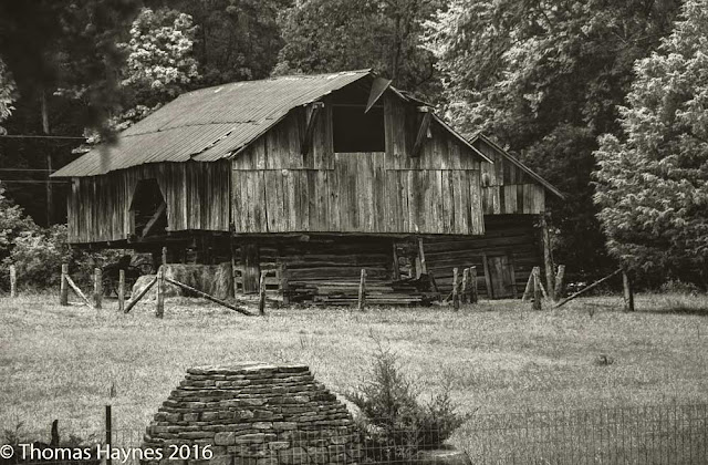 Old Appalachian barn in platinum tone image
