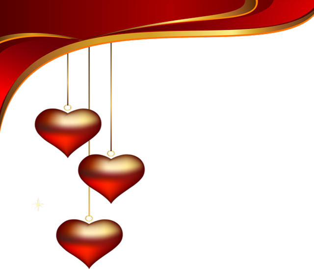 Hanging love hearts for decoration, hanging hearts in red background for windows, ipads and smartphones