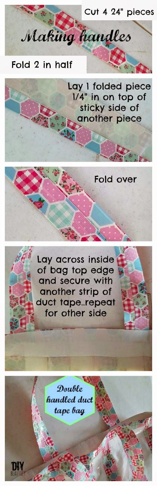 Instructions for a waterproof DIY duct tape beach bag with handles