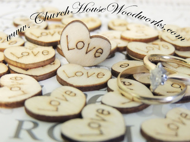 Tiny Wood Love Hearts for Rustic Weddings