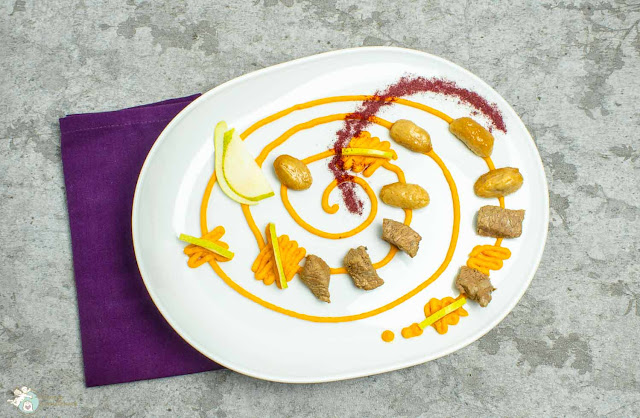 Gnocchi mit Birne, Karottenpesto