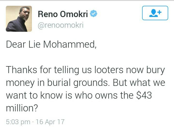 Reno tweet asks who owns the Ikoyi billions