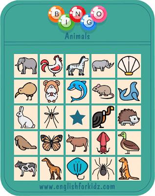 Animals bingo game – printable ESL worksheets for English teachers and students