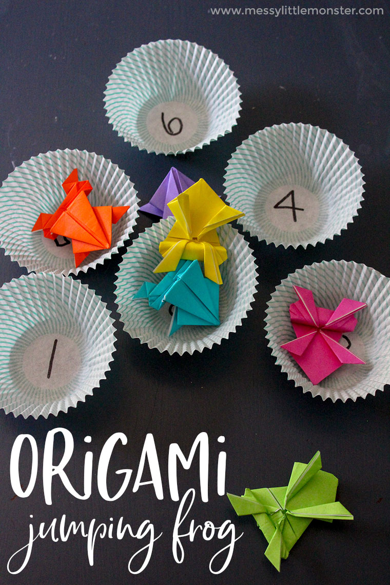Origami jumping frog craft plus a fun number game for kids.  Make some origami frogs and use them to play some fun counting games for toddlers and preschoolers.