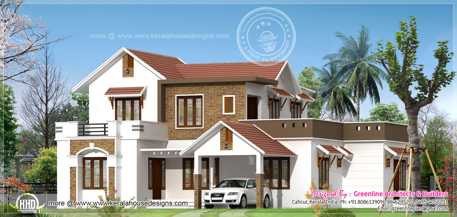 2536 new modern house exterior kerala home for Modern kerala style house plans with photos