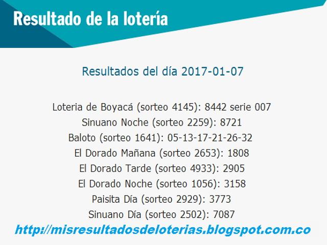 Resultados del dia de la loterias-Enero 07 2017