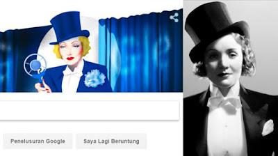 Biografi Marlene Dietrich Muncul di Google Hari ini        Siapa Marlene Dietrich Yang Tampil Ulang Tahun ke 116 situs google mesin pencarian hari ini? Jika Dilihat Dari Biodatanya ia adalah seorang Artis terkenal dan Tentu Seorang Seniman, Dia Kerap tampil dilayar televisi bermain film dan dia juga Memiliki Profesi Seorang Musisi.Banyak Lagu yang ia Nyanyikan Dan Terkenal Salah Satunya Adalah Lili Marlene, La Vie En Rose, Blowing In The Win, You Go to My Head, Dan The Boys in the Backroom dan masih banyak lagi Nama asli sejak lahir adalah Maria Magdalene Dietrich lahir Pada tanggal 27 Desember 1901 Memiliki Darah Jerman Amerika. Marlene Dietrich Kabarnya Meninggal Dunia Pada 6 Mei 1992 pada Saat umur 90 tahun di Paris Perancis dikarenakan suka sakit-sakitan di masa tu  Fakta Menarik Marlene Dietrich, Dia salah satu wanita dan aktris saat itu yang berani menentang pola pikir Nazi dan ketika Hitler mulai menangkap orang-orang Yahudi ibu cantik ini membantu banyak teman melarikan diri dari jerman saat itu.Dietrich Pernah di wawancara dan mengatakan bahwa dia telah ditawar agen Nazi untuk membintangi sebuah film namun ia menolak tawaran tersebut akan tetapi dia tidak sebutkan film apa yang