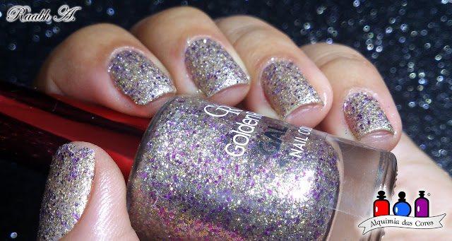 Unhas, Dourado, Glitter, Liquid Sand, Esmalte texturizado, efeito cristal, Nails, Golden Rose Galaxy nail polish, Golden Rose Galaxy 18, Raabh A.,
