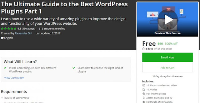 [100% Off] The Ultimate Guide to the Best WordPress Plugins Part 1| Worth 50$