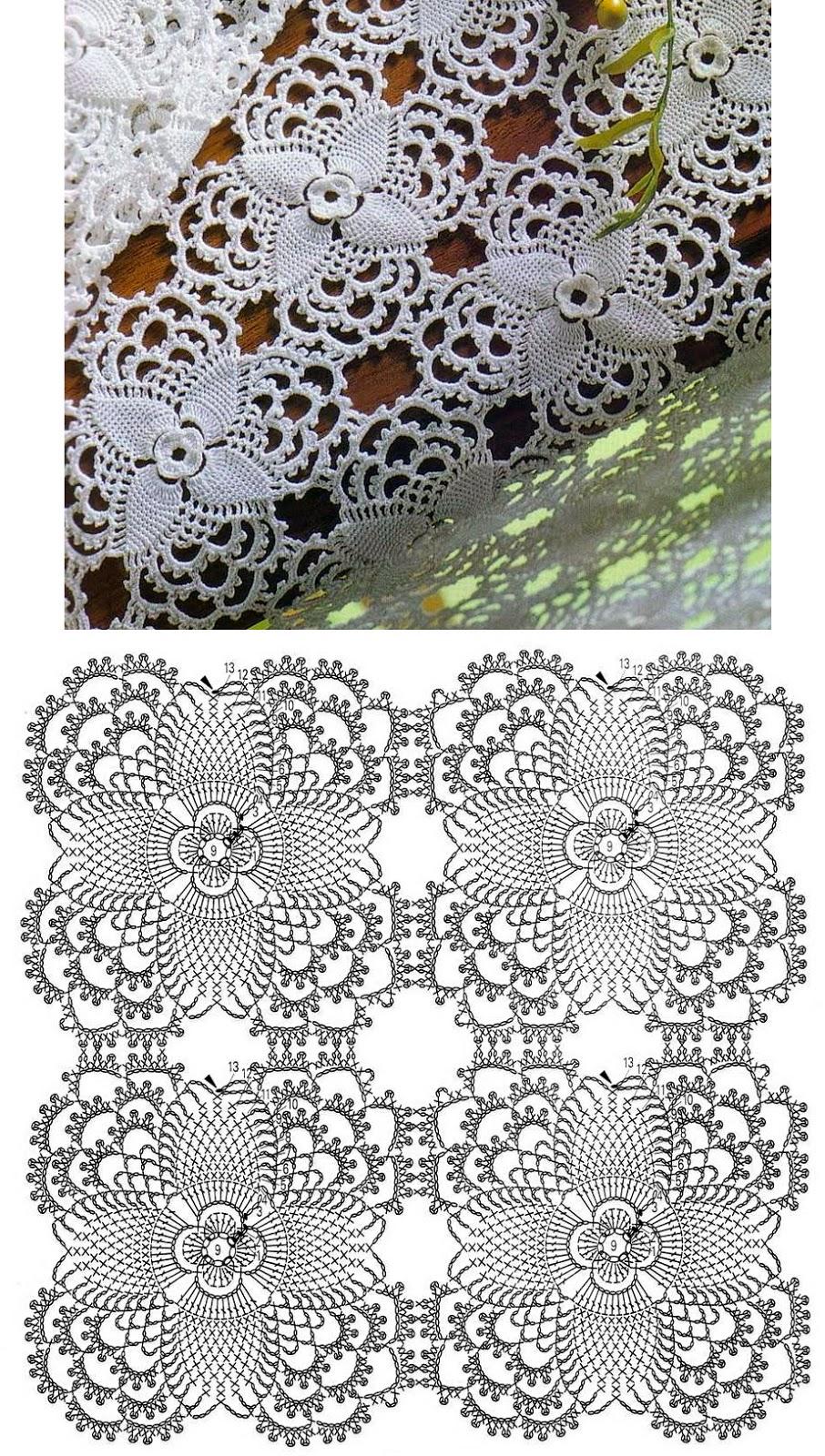Hobby lavori femminili  ricamo  uncinetto  maglia motivi quadrati uncinetto schema