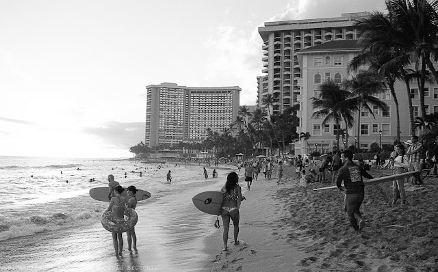 BW film photo of Waikiki beach