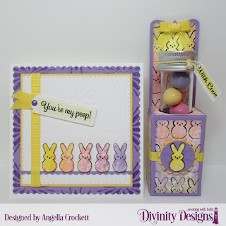 Divinity Designs Stamp Set: Test Tube Treat Stamps, Treat Tag Sentiments 3,  Custom Dies: Test Tube Treats, Scalloped Circles, Circles, Scalloped Squares, Double Stitched Squares, Bitty Borders, Mixed Media Stencils: Flower Burst, Small Test Tubes
