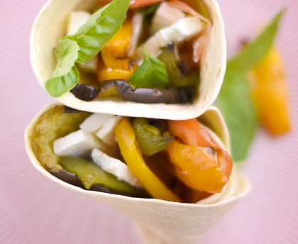 Wrap with summer vegetables and feta cheese
