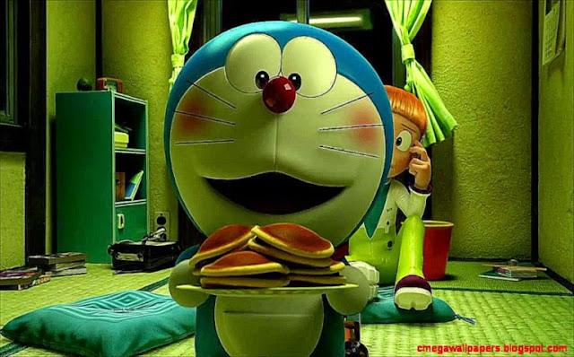 Doraemon Eating Dora Cakes 3D HD Wallpapers
