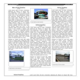 Blank Four Article Newspaper Template