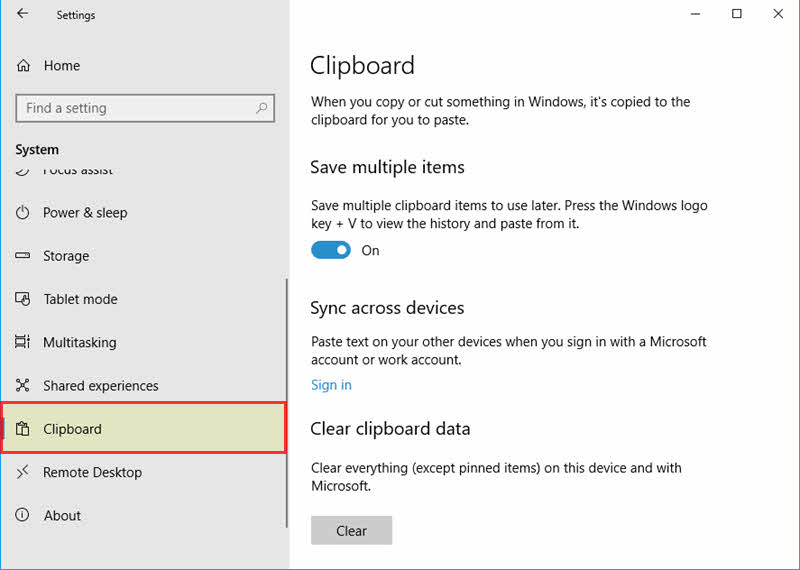 Windows 10 Clipboard Settings Page