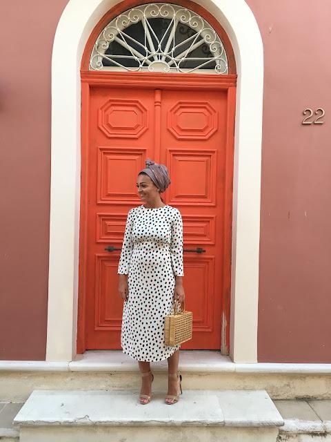 Lefkada, Greece, how to wear open back, open back dress, how to wear midi dress, wicker bag, vintage wicker bag, polkadot dress, best canadian fashion blogger, blogger midi dress, fashion blogger style dress