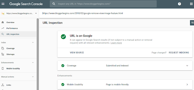 The result of URL inspection for URL that has been indexed by Google