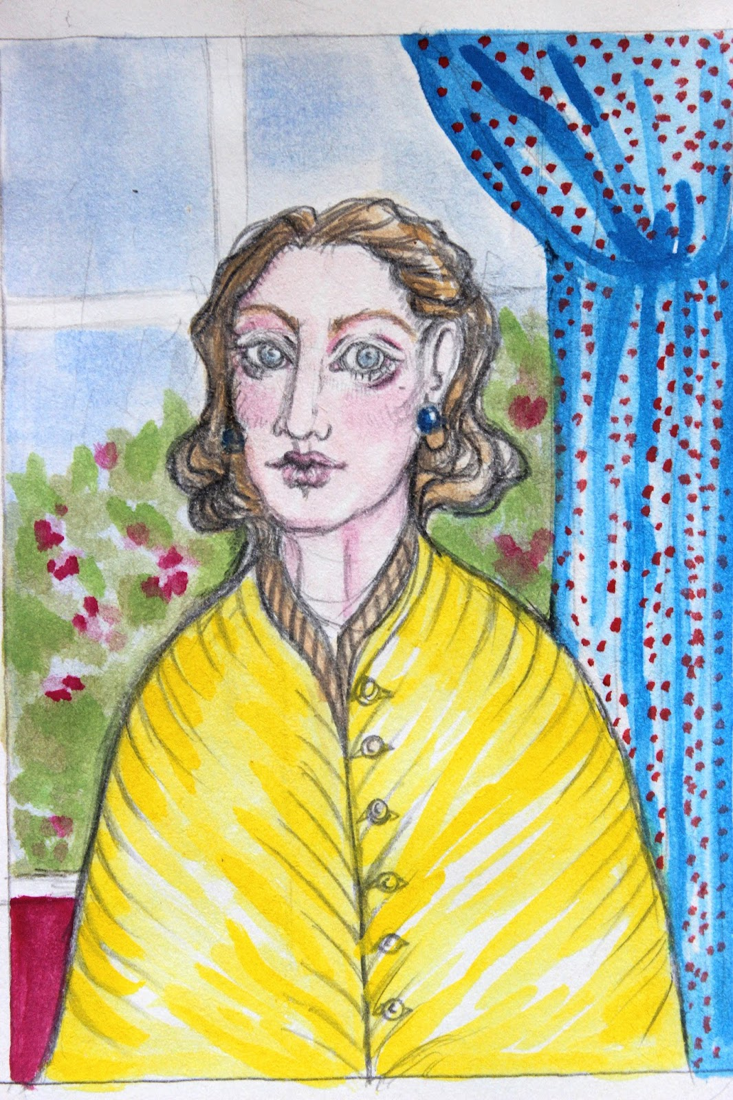 Sketch Drawing Notebook Pencil Woman in Yellow Watercolour