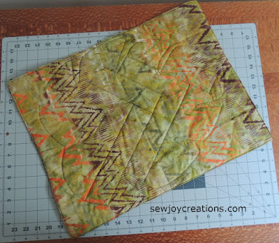 batik fat quarter as backing of table topper