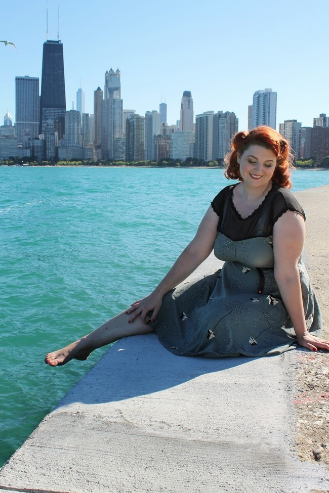 Va-Voom Vintage in Chicago plus size vintage dress with victory rolls