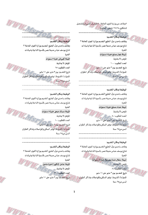 اعلان الحكومة المصرية عن توفير 3200 فرصة عمل للشباب بدول الخليج 2 / 5 / 2017