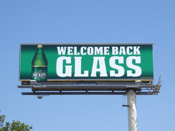 Mickeys Welcome back glass billboard