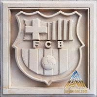 logo barca dibuat dari batu alam paras jogja / batu putih