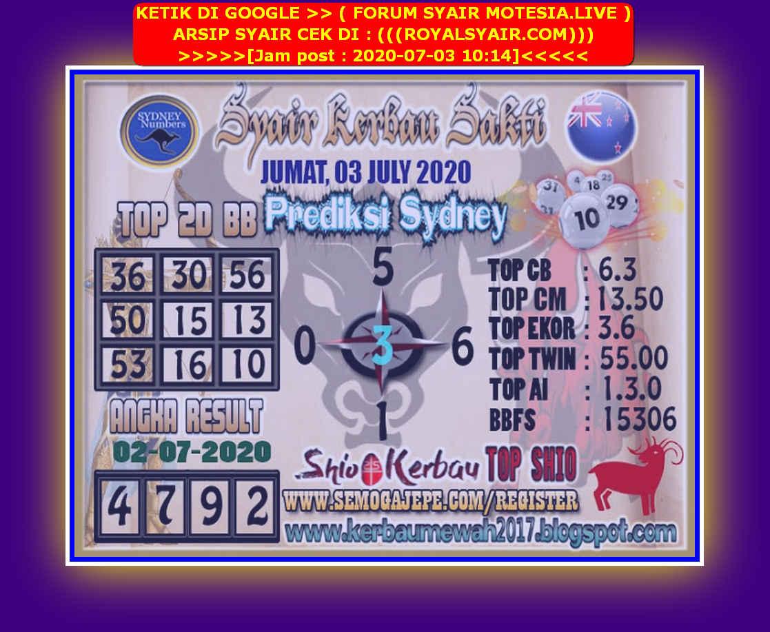Kode syair Sydney Jumat 3 Juli 2020 65
