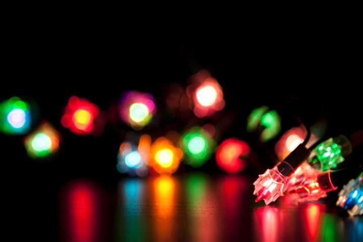 Bokeh of light small mini light for Christmas design ppt