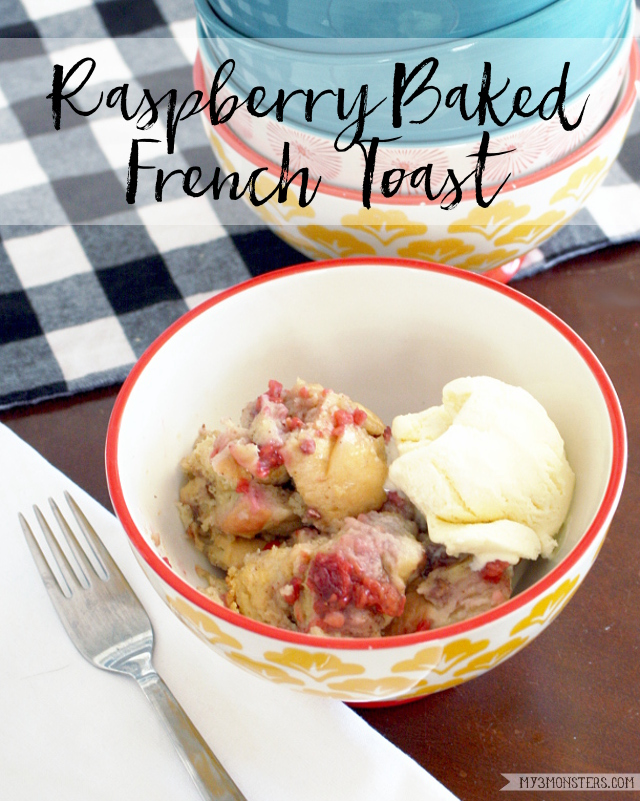 Delicious Raspberry Baked French Toast -- a cross between a traditional breakfast dish and a bread pudding that will knock your socks off from my3monsters.com
