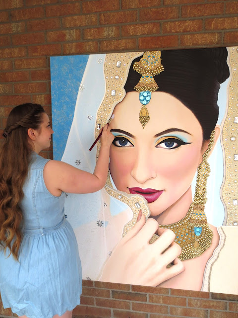 Toronto Portrait Artist, Indian Bride, Sikh Bride, Indian, Sikh, Gems, Beauty, Beauty Art, Jewels, Gem Art, Indian Art, Acrylic Paint, Malinda Prudhomme, Toronto Art, HUGE Painting, Toronto, Portrait, Realism, Portrait Art, Portrait Painting, Original Artwork