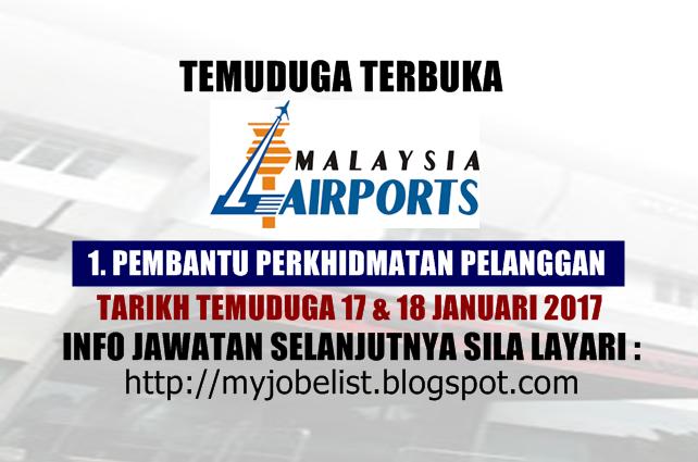 Temuduga Terbuka Malaysia Airports (MAHB) Januari 2017