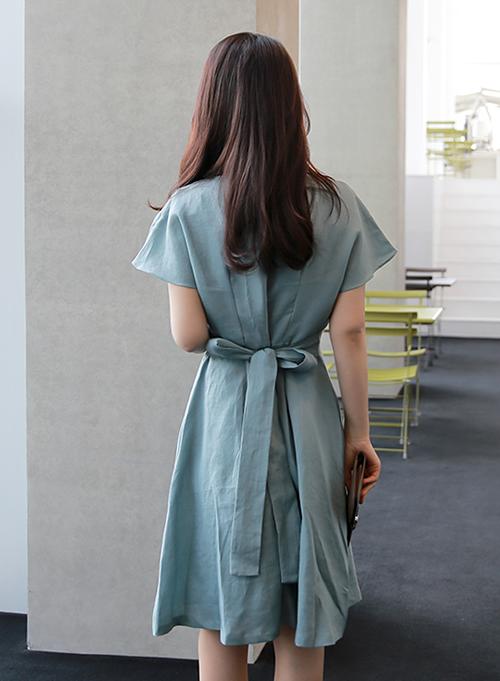 Benito Tie-Waist Linen Midi Dress