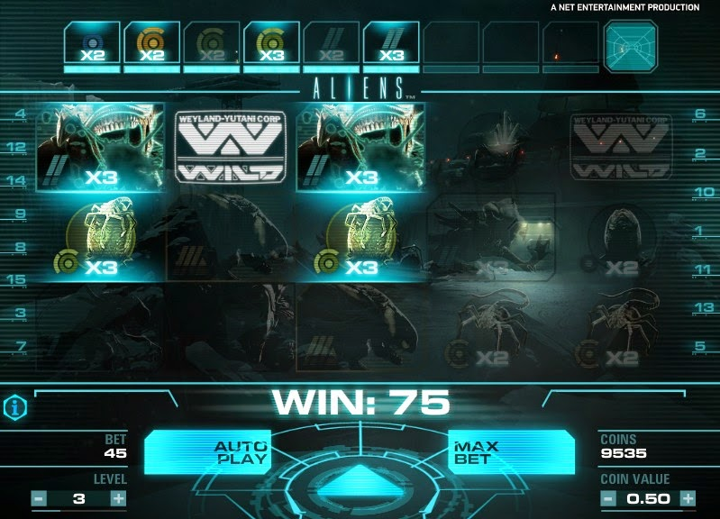 Aliens Video Slot Screen