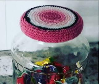 tapa de frasco tejida a crochet
