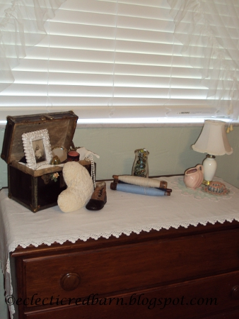 Eclectic Red Barn: Vintage doll box, heart pillow, vintage shoe, marbles